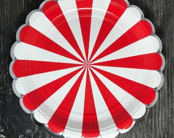Red Pinwheel Paper Plates   Red Striped Paper Plates   Pack of 8 Meri Meri inspired party plates