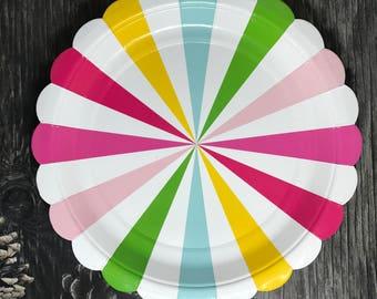 Rainbow Pinwheel Paper Plates   Rainbow Striped Paper Plates   Pack of 8 Meri Meri inspired party plates