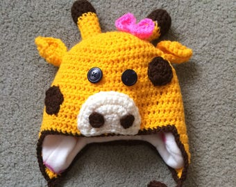 Fleece Lined Giraffe Hat