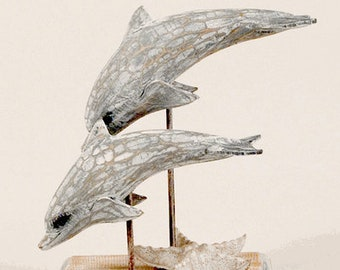 Dolphin Sculpture White Washed