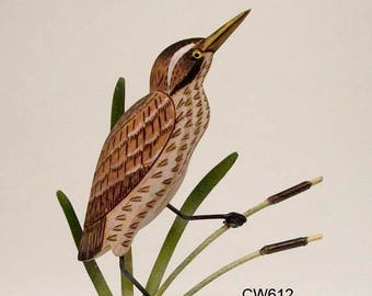 American Bittern Decoy Hand Carved Wood - CW612