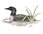 Loon in pond wood carved bird CW599