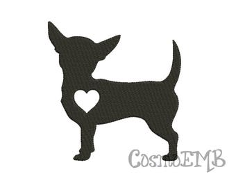 8 Size Chihuahua Silhouette Embroidery Applique design Machine Embroidery - Digital INSTANT DOWNLOAD