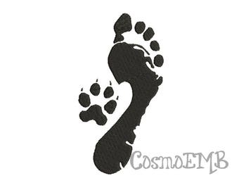 5 Size Paw & Foot Embroidery design Machine Embroidery - Digital INSTANT DOWNLOAD