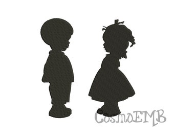 7 Size Valentine Boy Girl Silhouette Embroidery design Machine Embroidery - Digital INSTANT DOWNLOAD