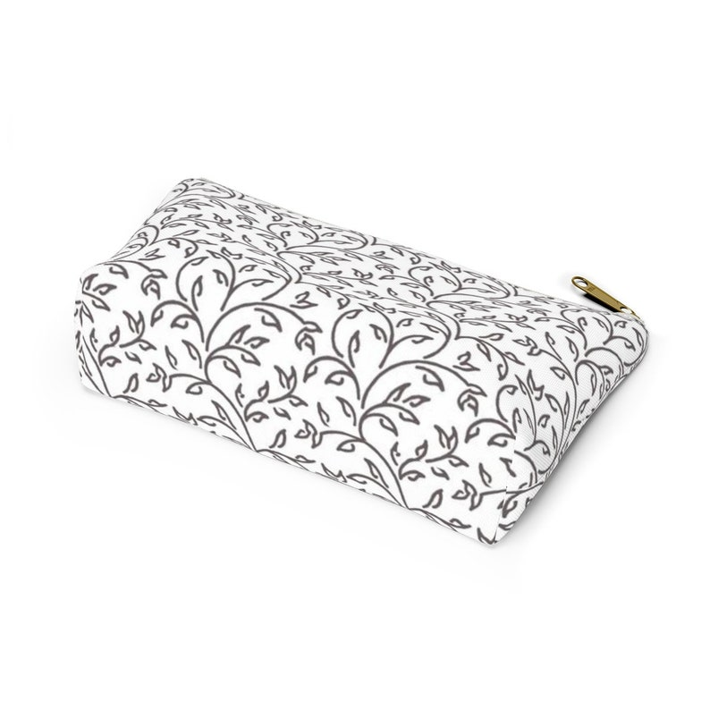 Gray Ivy Print Accessory Pouch with T-bottom  Ivy Design Make-up Bag  Ivy Print Pencil Bag
