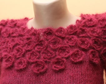 Hand knitted dress in deep raspberry color