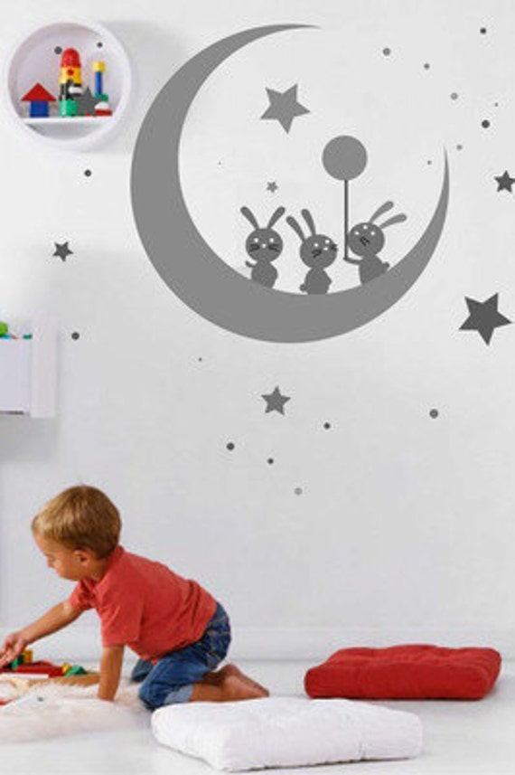 Wall Sticker Decal Bunny, moon for Kids Bedroom nursery wall decal  Removable Vinyl decal Blossom Wall art Stickers stars Cute