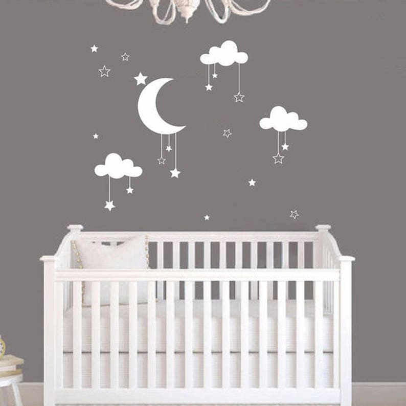baby wall decal moon and stars ideas wall decals nursery | etsy