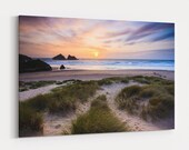 holywell bay beach picture canvas print cornwall near newquay sunset with sand dunes beautiful land scape