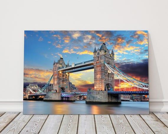 City of london tower bridge skyline panoramique boite cadre canvas art photo