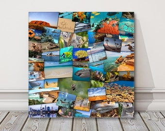 canvas photo collage picture print. Random mixed shape holiday or gift lots of sizes small to extra large
