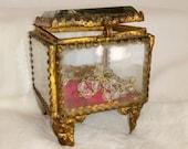 Antique Glass Chest, Lourdes Souvenier, Small Glass Jewellery Box, Ormolu, Beautiful, Elegant Mini Chest