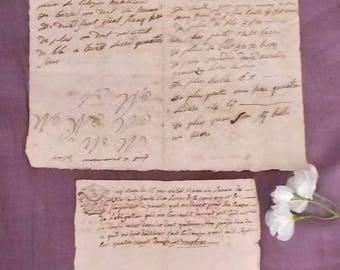 Antique Letter, 1792, Wabi Sabi, French Hand Written Paper, 1700s French Ephemera, Vintage French Hand Written Docs