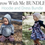 Apple Tree Hooded Dress and Color Blocked Hoodie BUNDLE - Grow With Me Dress and Grow With Me Hoodie PDF Pattern Printable Sewing Pattern