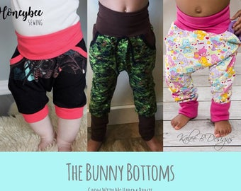 Apple Tree Bunny Bottoms Grow With Me Harem Drop Crotch Joggers Pants and Shorts ** PDF Sewing Pattern ** Grow With Me Pants Pattern