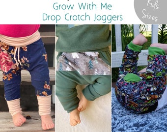 Apple Tree Little Kids Bunny Bottom Grow With Me Drop Crotch Pants Joggers Trousers ** PDF Sewing Pattern ** Kids and Baby Sewing Pattern