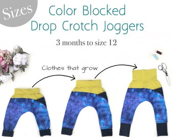 Apple Tree Color Blocked Grow With Me Drop Crotch Pants Joggers Trousers ** PDF Sewing Pattern ** Kids and Baby Sewing Pattern