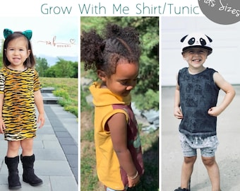 Apple Tree Little Grow Fonder Shirt or Tunic Grow with Me Top *PDF Sewing Pattern* Grow With Me Shirt Pattern, Long or Short Sleeves, Cowl