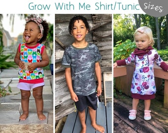 Apple Tree Grow Fonder Shirt or Tunic Grow with Me Top *PDF Sewing Pattern* Grow With Me Shirt Pattern, Long or Short Sleeves, Cowl all size