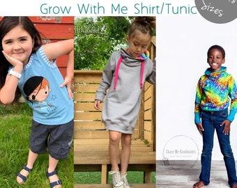 Apple Tree Grow Fonder Shirt or Tunic Grow with Me Top *PDF Sewing Pattern* Big Kids GWM Shirt Pattern, Long or Short Sleeves, Cowl