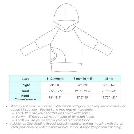 Apple Tree Bunnyhug Grow With Me Hoodie PDF Pattern Pullover Etsy Simple Sweatshirt Pattern