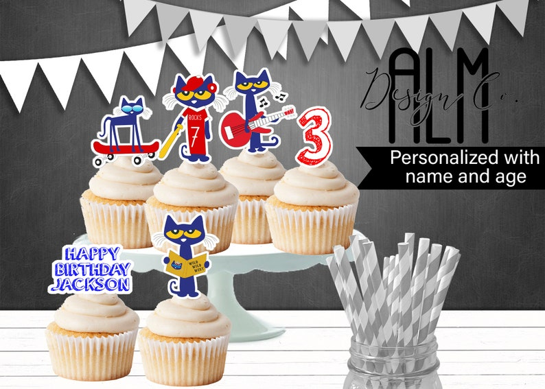 Pete The Cat Cupcake Toppers Pete The Cat Birthday Etsy