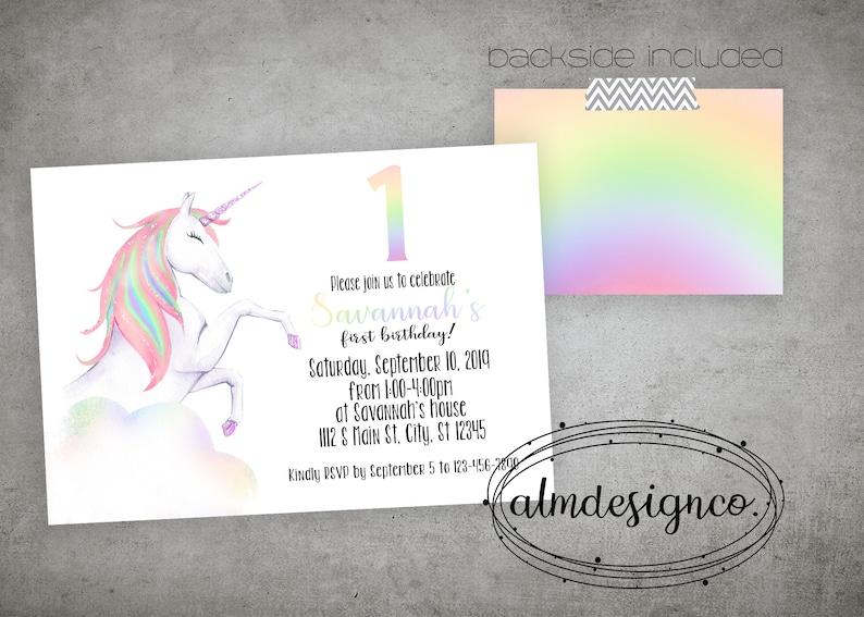 Unicorn Birthday Invitation - Unicorn Invitation - Unicorn Birthday Party -  Unicorn Birthday - any age
