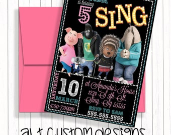 Sing Birthday Invitation - Sing Birthday Party - Sing Birthday - Sing Invitations - Sing - Sing Birthday Party Invitations