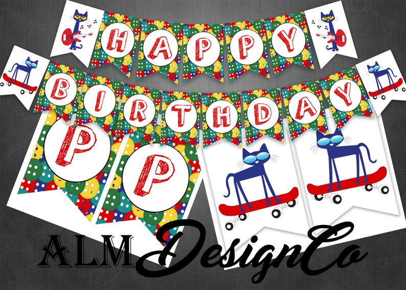 Pete The Cat Birthday Banner Pete The Cat Banner Pete The Etsy