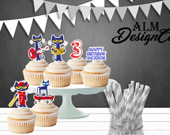 Pete the cat cupcake toppers - pete the cat birthday decorations - pete the cat shipped cupcake toppers