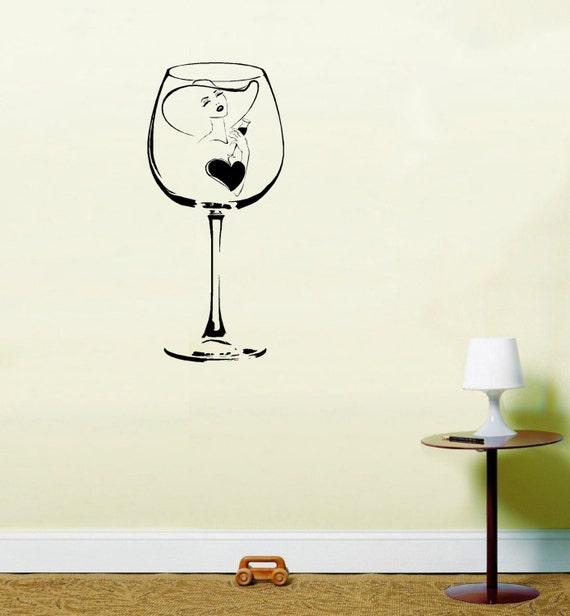 Elegant Lady in A Wine Glass Wall Art Vinyl Stickers Kitchen | Etsy