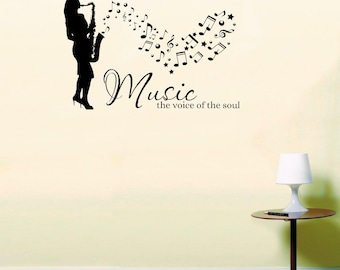 Female Saxophone Musician Music the voice of the soul Wall Art Sticker quote