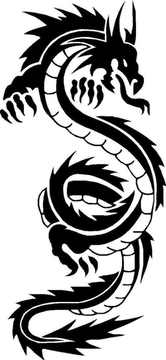 "medium 11/"" car van bonnet side sticker tribal dragon vinyl graphic decal wall"
