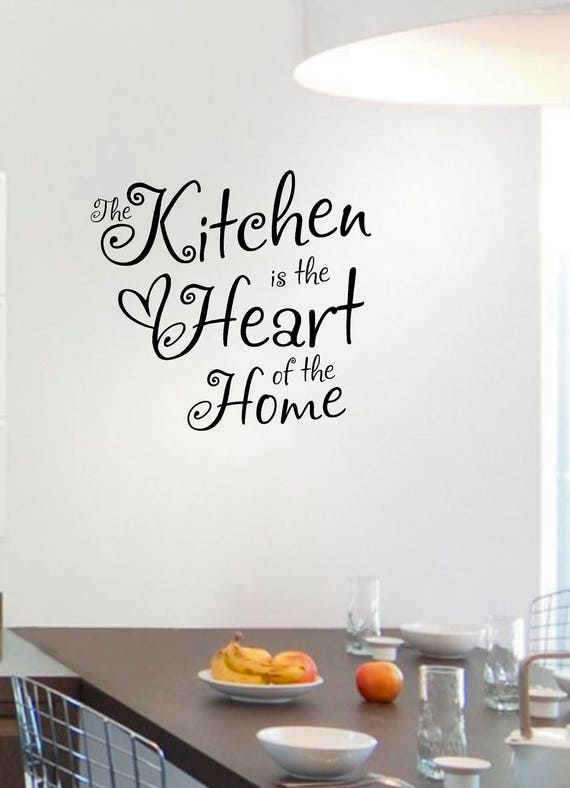 The Kitchen is the Heart of the Home Kitchen Wall Art Sticker, Decal, Quote  LSK1