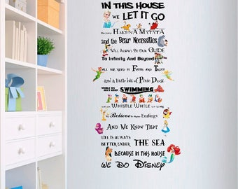 In This House We Do Disney Style Quote Rules Vinyl Wall Art Nursery Sticker DIY Kit LSWA4