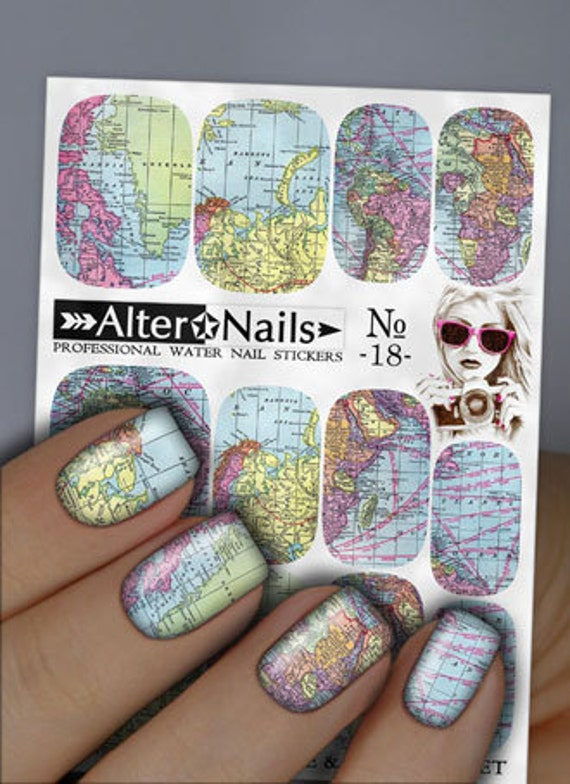 No. 18 World Map Nail Water Wraps Art Stickers Decals | Etsy