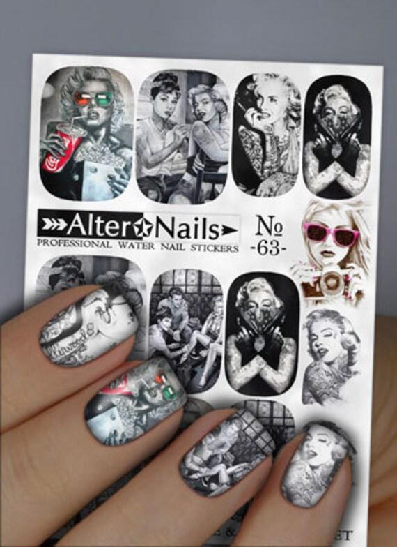 No. 63 Marilyn Monroe Audrey Hepburn Nail Water Wraps Art   Etsy