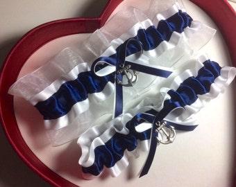 Official U.S United States Navy Round Charm Navy Satin Navy Blue White Lace Wedding Keepsake Bridal Garter