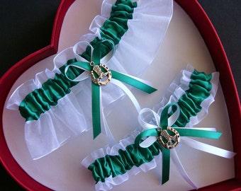 abc97a700c New Emerald White Wedding Garter Prom GetTheGoodStuff
