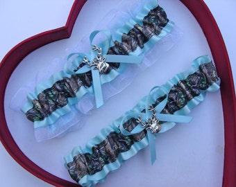 New Aqua Blue Mossy Oak White Camouflage Camo Wedding Garter Prom GetTheGoodStuff Deer