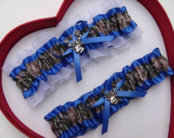 Wedding Garters Mossy Oak Royal Blue White Camouflage Camo Set Keepsake Toss Hunting Prom Deer