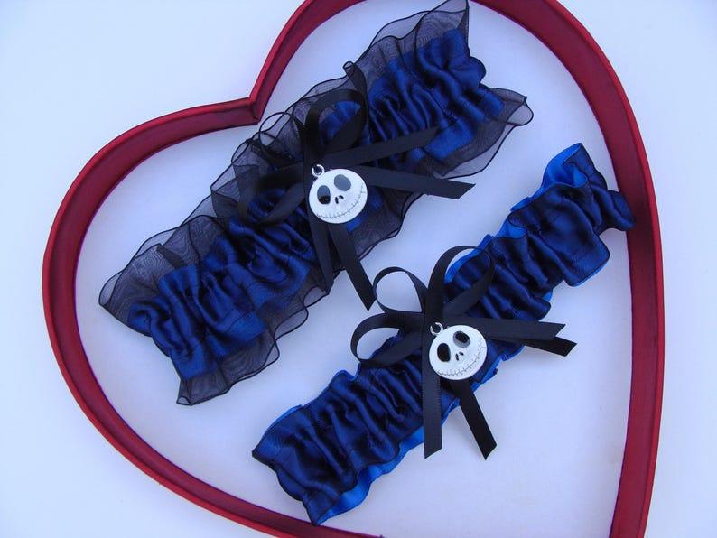 Navy Blue Plum Black Nightmare Before Christmas Jack Skellington Wedding Garter