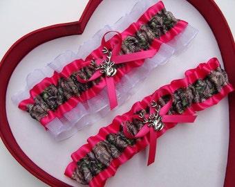 Wedding Garters Mossy Oak Hot Pink White Camouflage Camo Set Keepsake Toss Hunting Prom Deer