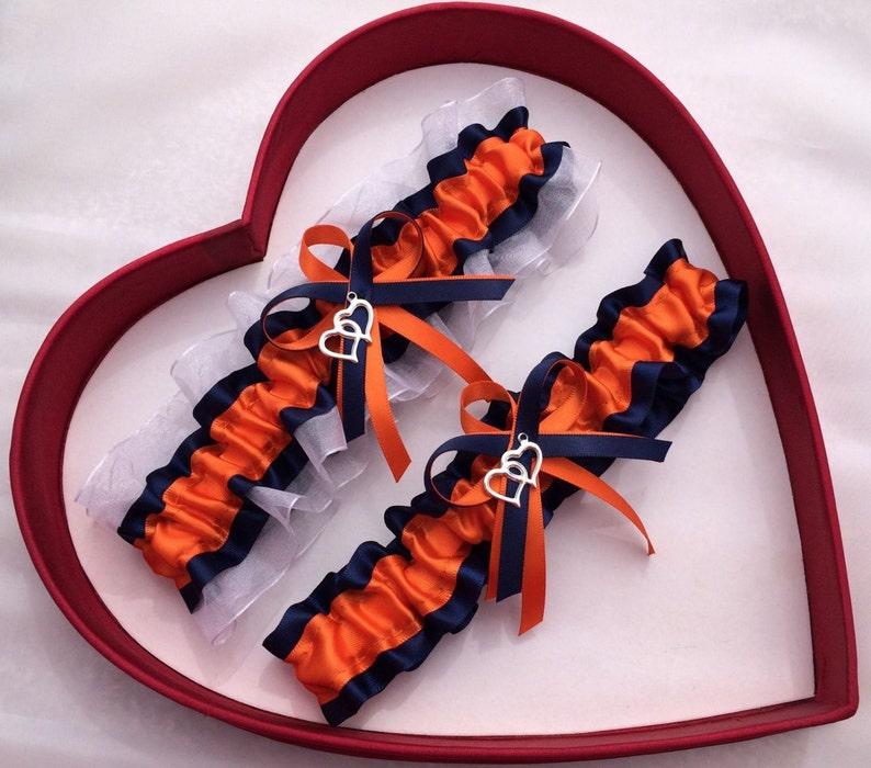 Wedding Garter Orange Navy White  Wedding Garter Set Double Heart