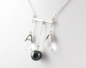 Tears - Silver, glass Pearl, Tahitian Pearl