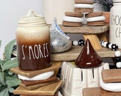 SMORES Rae Dunn Inspired Mini Canister Farmhouse Tiered Tray Coffee Bar Kitchen Decor HOt Chocolate bAr