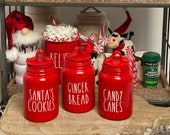 Red Rae Dunn Inspired Mini Canister Christmas Decor Farmhouse Tiered Tray Coffee Bar Kitchen Decor Holiday Decorations