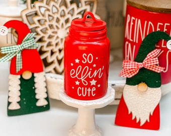 Elfin Cute Mini Christmas Canister. 4.5 to 5 inches tall. Mini Tiered Tray Decor. Candy Canes. Decorative
