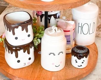 Mini Ceramic Marshmallow Face Decorative Canister   Marshmallow Mug Faces   Tray Decor   Farmhouse Kitchen   Not Real Rae Dunn